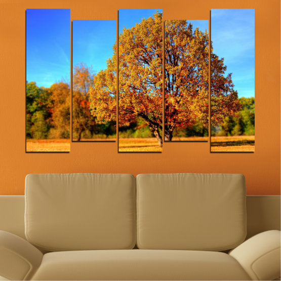 Canvas prints & wall decorative panels - 5 pieces №0627 » Turquoise, Yellow, Orange, Brown » Nature, Landscape, Tree, Autumn Form #3