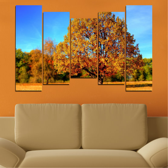 Canvas prints & wall decorative panels - 5 pieces №0627 » Turquoise, Yellow, Orange, Brown » Nature, Landscape, Tree, Autumn Form #4