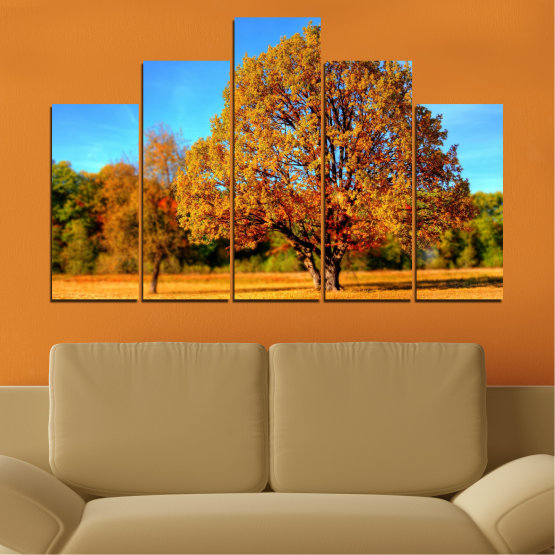 Canvas prints & wall decorative panels - 5 pieces №0627 » Turquoise, Yellow, Orange, Brown » Nature, Landscape, Tree, Autumn Form #5