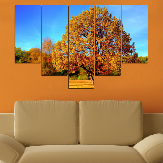 Canvas prints & wall decorative panels - 5 pieces №0627 » Turquoise, Yellow, Orange, Brown » Nature, Landscape, Tree, Autumn Form #6