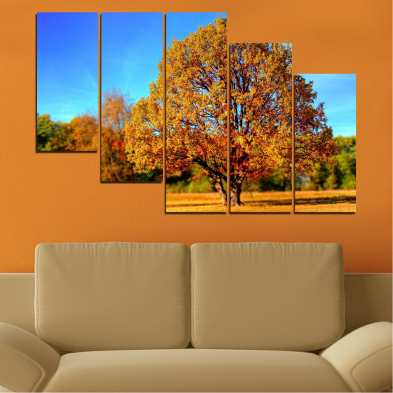 Canvas prints & wall decorative panels - 5 pieces №0627 » Turquoise, Yellow, Orange, Brown » Nature, Landscape, Tree, Autumn Form #7