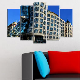 City, Dancing house, Landmark, Capital, Czech republic » Blue, Black, Gray, Dark grey
