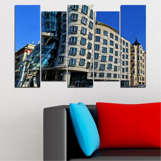 Декоративни панели и картини от канава - от 5 части №0628 » Син, Черен, Сив, Тъмно сив » Град, Танцуващата къща, Забележителност, Столица, Чехия Form #3
