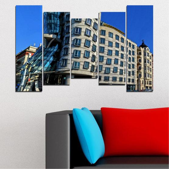 Декоративни панели и картини от канава - от 5 части №0628 » Син, Черен, Сив, Тъмно сив » Град, Танцуващата къща, Забележителност, Столица, Чехия Form #4