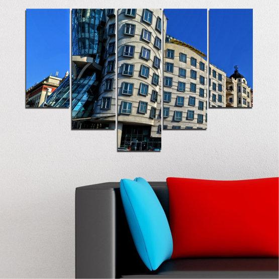 Декоративни панели и картини от канава - от 5 части №0628 » Син, Черен, Сив, Тъмно сив » Град, Танцуващата къща, Забележителност, Столица, Чехия Form #6