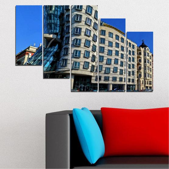 Декоративни панели и картини от канава - от 5 части №0628 » Син, Черен, Сив, Тъмно сив » Град, Танцуващата къща, Забележителност, Столица, Чехия Form #7