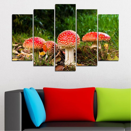 Canvas prints & wall decorative panels - 5 pieces №0629 » Green, Brown, Black » Nature, Forest, Mushrooms Form #1