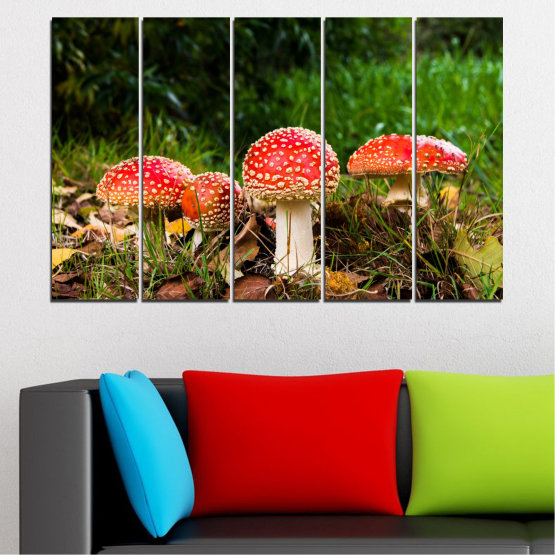 Декоративни панели и картини от канава - от 5 части №0629 » Зелен, Кафяв, Черен » Природа, Гора, Гъби Form #2