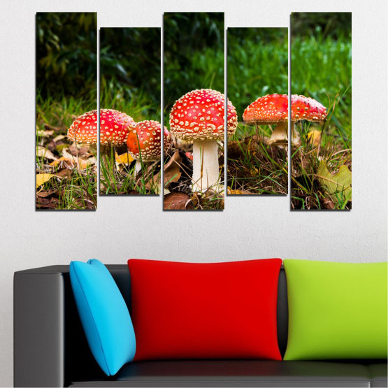 Canvas prints & wall decorative panels - 5 pieces №0629 » Green, Brown, Black » Nature, Forest, Mushrooms Form #3