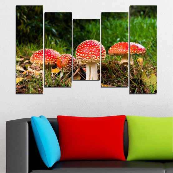 Canvas prints & wall decorative panels - 5 pieces №0629 » Green, Brown, Black » Nature, Forest, Mushrooms Form #4