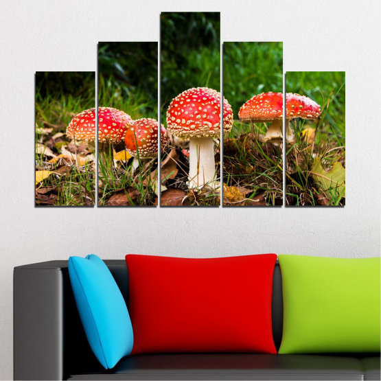 Canvas prints & wall decorative panels - 5 pieces №0629 » Green, Brown, Black » Nature, Forest, Mushrooms Form #5