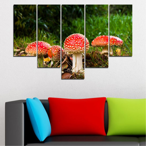 Canvas prints & wall decorative panels - 5 pieces №0629 » Green, Brown, Black » Nature, Forest, Mushrooms Form #6