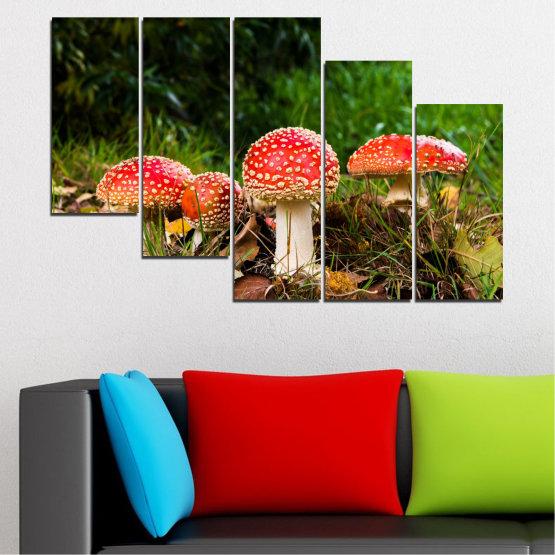Декоративни панели и картини от канава - от 5 части №0629 » Зелен, Кафяв, Черен » Природа, Гора, Гъби Form #7