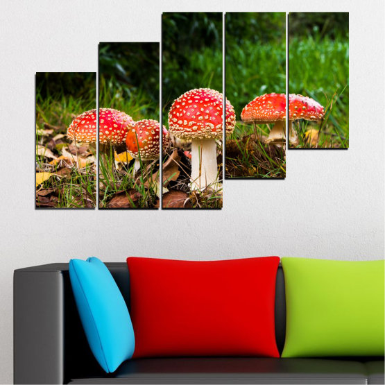 Canvas prints & wall decorative panels - 5 pieces №0629 » Green, Brown, Black » Nature, Forest, Mushrooms Form #8