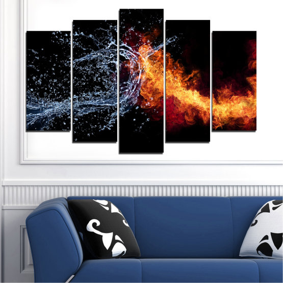 Canvas prints & wall decorative panels - 5 pieces №0063 » Red, Yellow, Orange, Black, Dark grey » Water, Abstraction, Fire Form #1