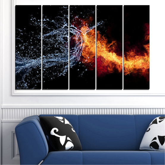 Canvas prints & wall decorative panels - 5 pieces №0063 » Red, Yellow, Orange, Black, Dark grey » Abstraction, Water, Fire Form #2