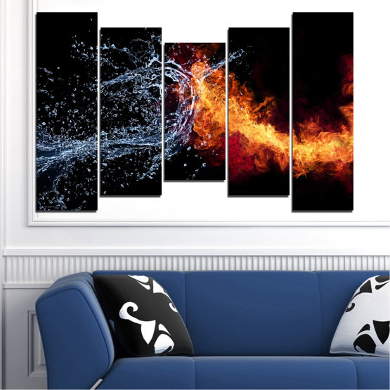 Canvas prints & wall decorative panels - 5 pieces №0063 » Red, Yellow, Orange, Black, Dark grey » Water, Abstraction, Fire Form #4