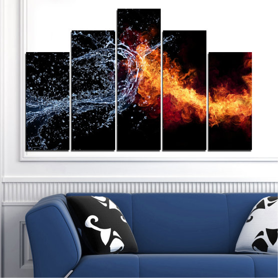Canvas prints & wall decorative panels - 5 pieces №0063 » Red, Yellow, Orange, Black, Dark grey » Abstraction, Water, Fire Form #5