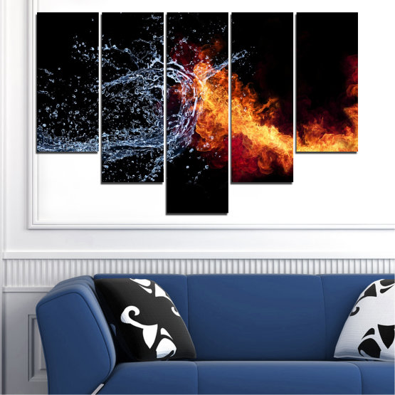 Canvas prints & wall decorative panels - 5 pieces №0063 » Red, Yellow, Orange, Black, Dark grey » Abstraction, Water, Fire Form #6