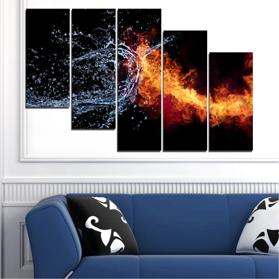 Canvas prints & wall decorative panels - 5 pieces №0063 » Red, Yellow, Orange, Black, Dark grey » Abstraction, Water, Fire Form #7