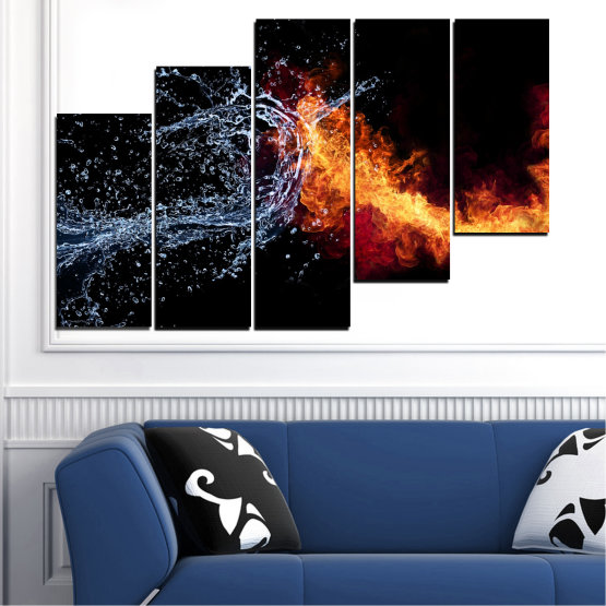 Canvas prints & wall decorative panels - 5 pieces №0063 » Red, Yellow, Orange, Black, Dark grey » Water, Abstraction, Fire Form #8