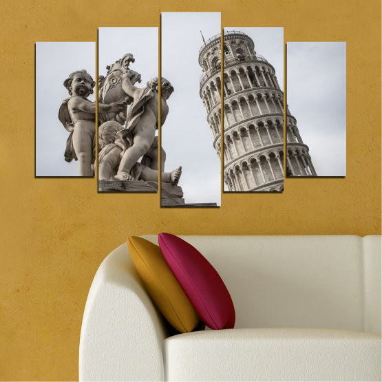 Canvas prints & wall decorative panels - 5 pieces №0631 » Brown, Black, Gray, Dark grey » Landmark, Italy, Statue, Tower Form #1