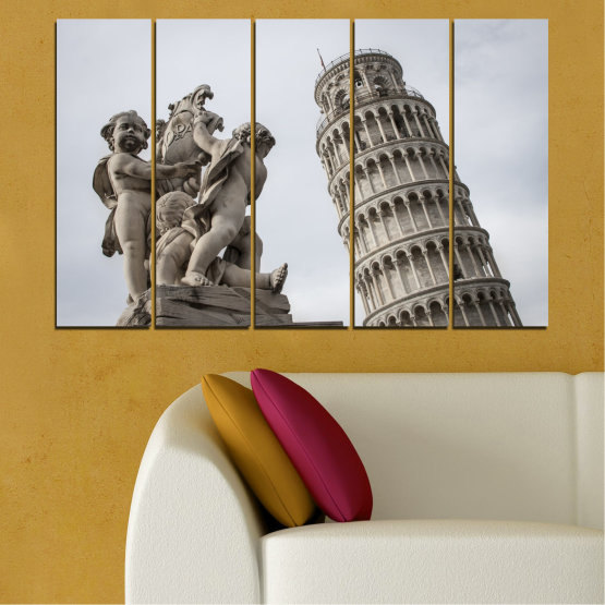 Canvas prints & wall decorative panels - 5 pieces №0631 » Brown, Black, Gray, Dark grey » Landmark, Italy, Statue, Tower Form #2