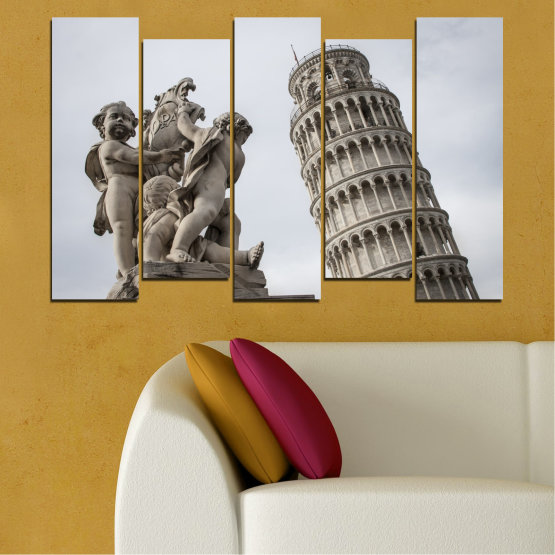 Canvas prints & wall decorative panels - 5 pieces №0631 » Brown, Black, Gray, Dark grey » Landmark, Italy, Statue, Tower Form #3