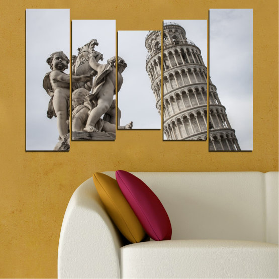 Canvas prints & wall decorative panels - 5 pieces №0631 » Brown, Black, Gray, Dark grey » Landmark, Italy, Statue, Tower Form #4