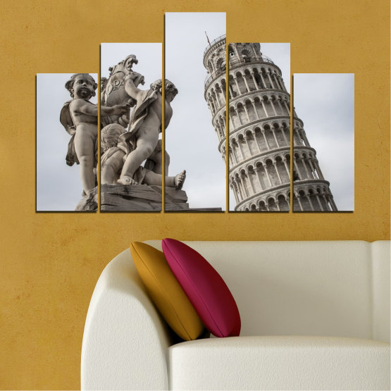 Canvas prints & wall decorative panels - 5 pieces №0631 » Brown, Black, Gray, Dark grey » Landmark, Italy, Statue, Tower Form #5