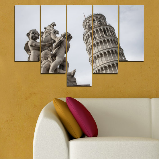 Canvas prints & wall decorative panels - 5 pieces №0631 » Brown, Black, Gray, Dark grey » Landmark, Italy, Statue, Tower Form #6