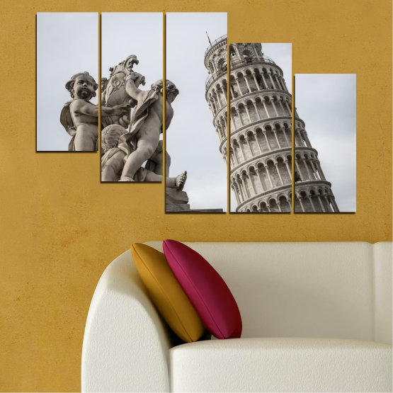 Canvas prints & wall decorative panels - 5 pieces №0631 » Brown, Black, Gray, Dark grey » Landmark, Italy, Statue, Tower Form #7