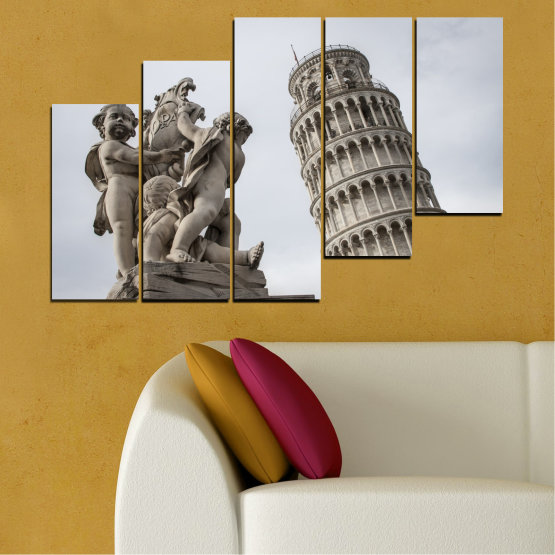 Canvas prints & wall decorative panels - 5 pieces №0631 » Brown, Black, Gray, Dark grey » Landmark, Italy, Statue, Tower Form #8