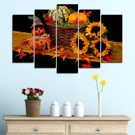 Drawing, Culinary, Sunflower, Autumn, Halloween » Red, Orange, Brown, Black