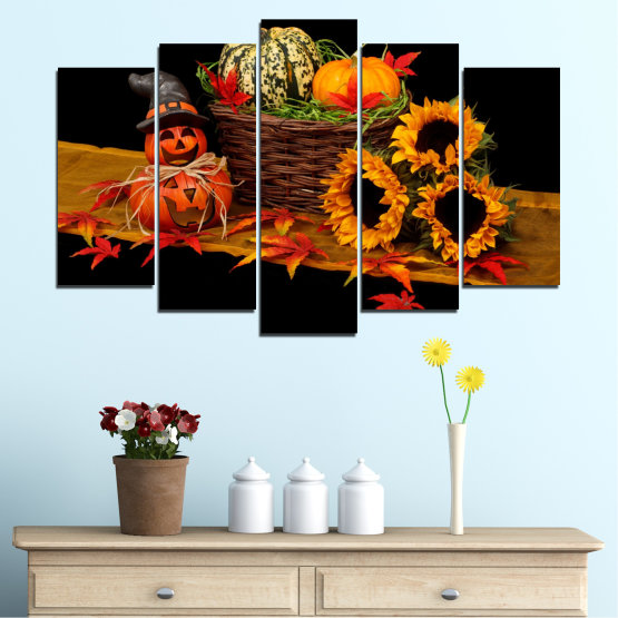 Canvas prints & wall decorative panels - 5 pieces №0632 » Red, Orange, Brown, Black » Drawing, Culinary, Sunflower, Autumn, Halloween Form #1