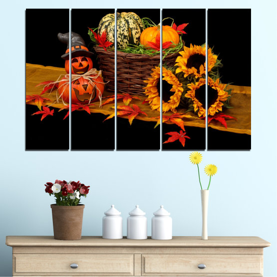 Canvas prints & wall decorative panels - 5 pieces №0632 » Red, Orange, Brown, Black » Drawing, Culinary, Sunflower, Autumn, Halloween Form #2