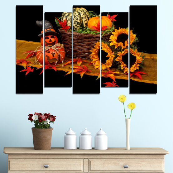 Canvas prints & wall decorative panels - 5 pieces №0632 » Red, Orange, Brown, Black » Drawing, Culinary, Sunflower, Autumn, Halloween Form #3