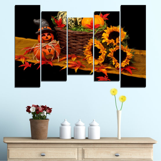 Canvas prints & wall decorative panels - 5 pieces №0632 » Red, Orange, Brown, Black » Drawing, Culinary, Sunflower, Autumn, Halloween Form #4