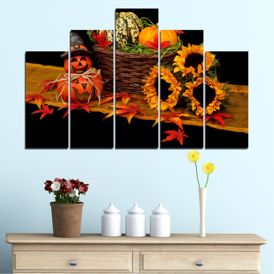 Canvas prints & wall decorative panels - 5 pieces №0632 » Red, Orange, Brown, Black » Drawing, Culinary, Sunflower, Autumn, Halloween Form #5