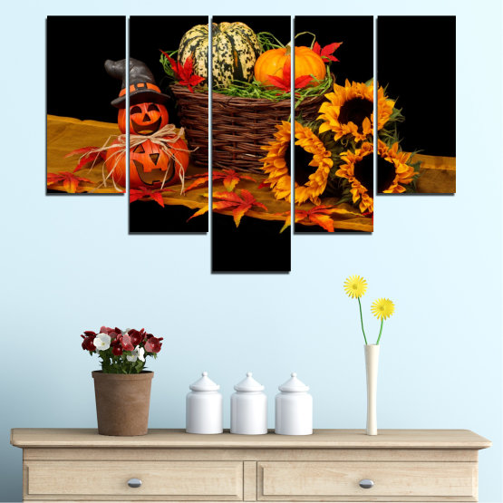 Canvas prints & wall decorative panels - 5 pieces №0632 » Red, Orange, Brown, Black » Drawing, Culinary, Sunflower, Autumn, Halloween Form #6