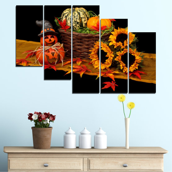 Canvas prints & wall decorative panels - 5 pieces №0632 » Red, Orange, Brown, Black » Drawing, Culinary, Sunflower, Autumn, Halloween Form #7