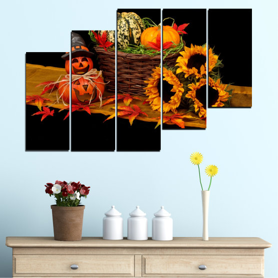 Canvas prints & wall decorative panels - 5 pieces №0632 » Red, Orange, Brown, Black » Drawing, Culinary, Sunflower, Autumn, Halloween Form #8
