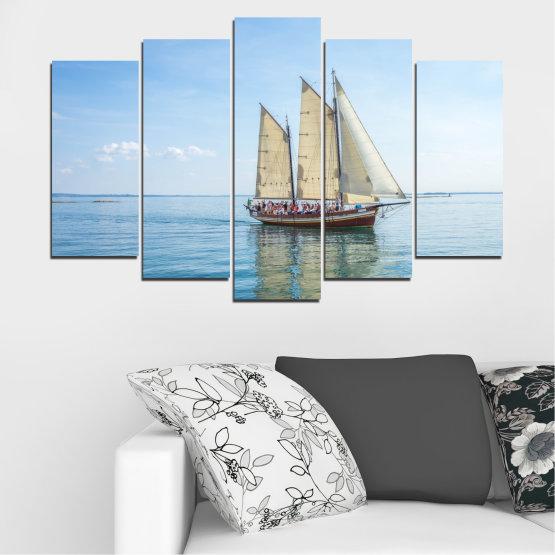 Декоративни панели и картини от канава - от 5 части №0633 » Тюркоаз, Сив, Бял » Вода, Море, Кораб, Превозно средство, Лодка Form #1