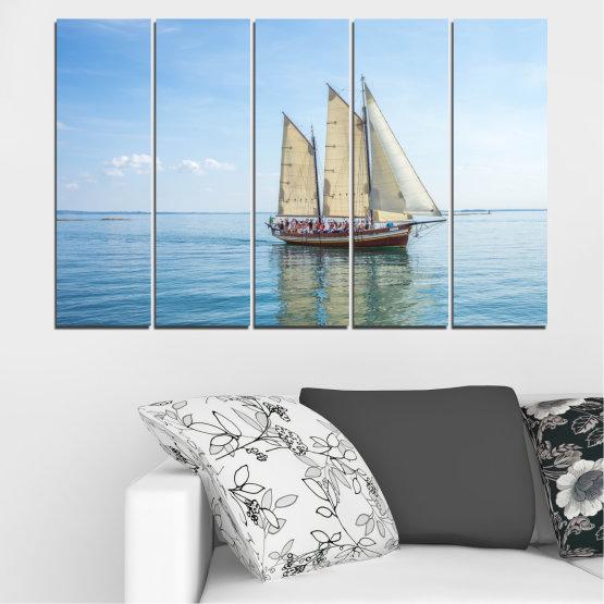 Декоративни панели и картини от канава - от 5 части №0633 » Тюркоаз, Сив, Бял » Вода, Море, Кораб, Превозно средство, Лодка Form #2