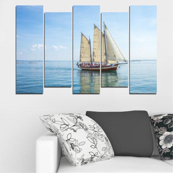 Декоративни панели и картини от канава - от 5 части №0633 » Тюркоаз, Сив, Бял » Вода, Море, Кораб, Превозно средство, Лодка Form #3