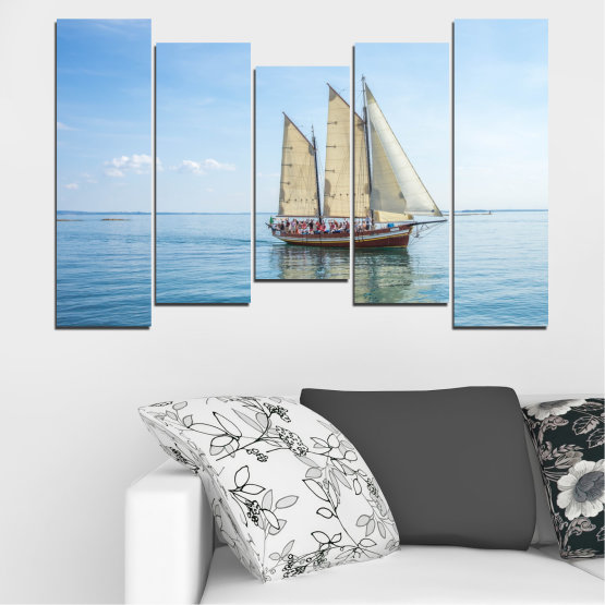 Декоративни панели и картини от канава - от 5 части №0633 » Тюркоаз, Сив, Бял » Вода, Море, Кораб, Превозно средство, Лодка Form #4