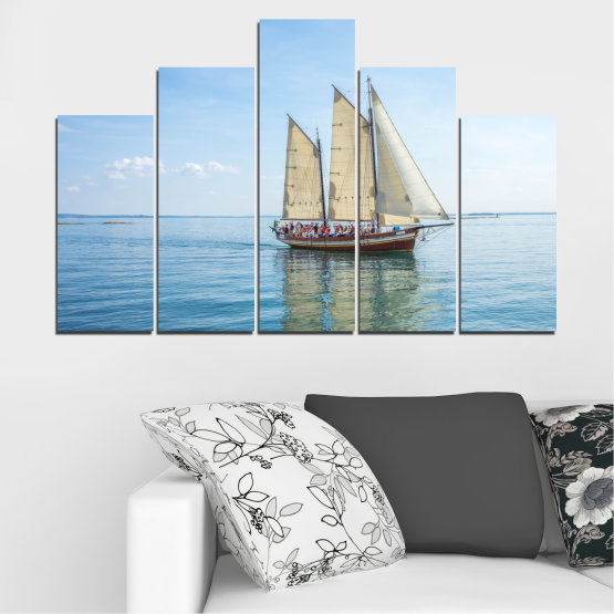 Canvas prints & wall decorative panels - 5 pieces №0633 » Turquoise, Gray, White » Sea, Water, Ship, Vehicle, Boat Form #5