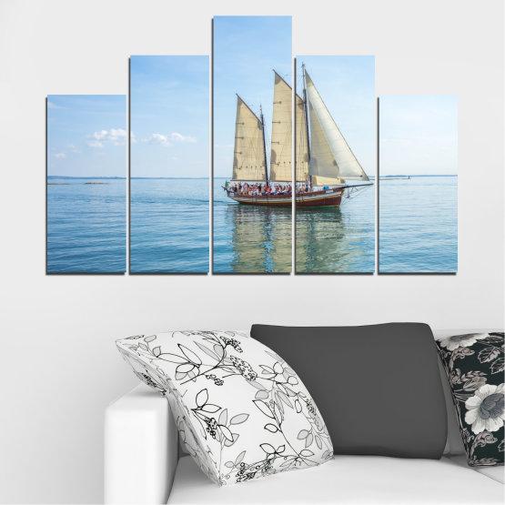 Декоративни панели и картини от канава - от 5 части №0633 » Тюркоаз, Сив, Бял » Вода, Море, Кораб, Превозно средство, Лодка Form #5
