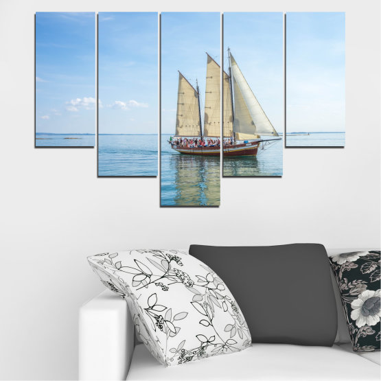 Canvas prints & wall decorative panels - 5 pieces №0633 » Turquoise, Gray, White » Sea, Water, Ship, Vehicle, Boat Form #6