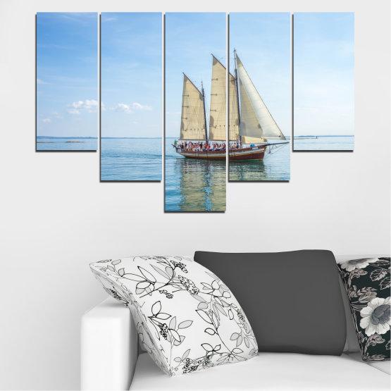 Декоративни панели и картини от канава - от 5 части №0633 » Тюркоаз, Сив, Бял » Вода, Море, Кораб, Превозно средство, Лодка Form #6
